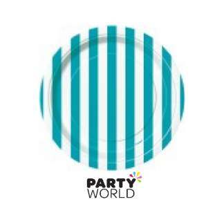 Caribbean Teal Stripe Paper Plates - 7inch (8)