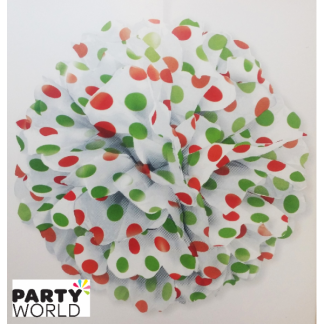 Red & Green Polka Dot Puff Ball - 14inch