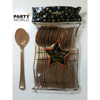 Gold Plastic Spoons (25)