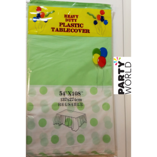 Soft Green Dots Plastic Tablecover