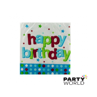 1st Birthday Blue Dots Beverage Napkins (16)
