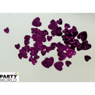 Hot Pink Embossed Heart Confetti (5g)