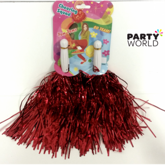 Cheer Pom Poms - Metallic Red (2)