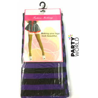 Striped Stockings - Purple and Black