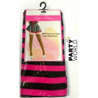 Striped Stockings - Pink and Black