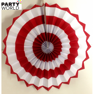 Red and White Paper Fan (12inch)
