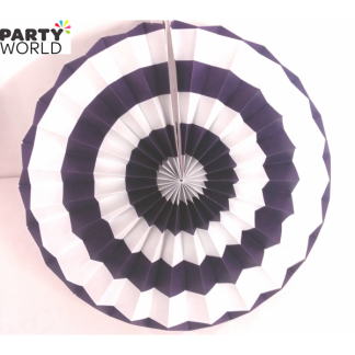 Purple and White Paper Fan (12inch)