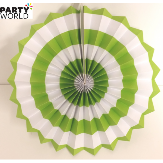 Green and White Paper Fan (12inch)