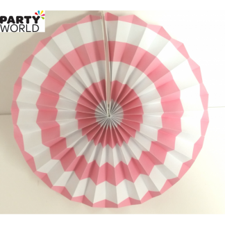 Light Pink and White Paper Fan (12inch)