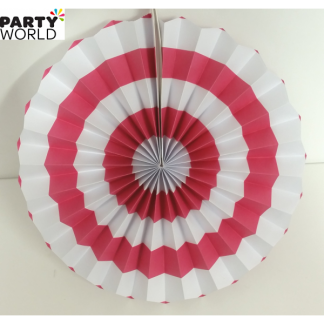 Hot Pink and White Paper Fan (12inch)