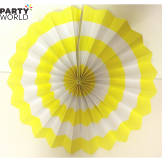 Yellow and White Paper Fan (12inch)