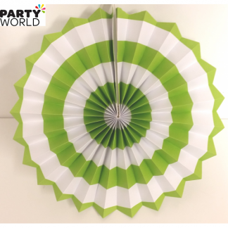 Lime Green and White Paper Fan (10inch)