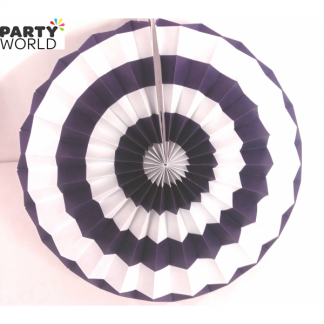 Purple and White Paper Fan (10inch)