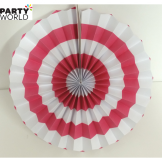 Hot Pink and White Paper Fan (10inch)