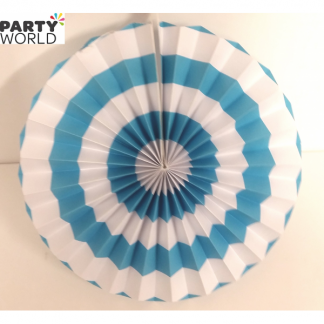 Light Blue and White Paper Fan (10inch)