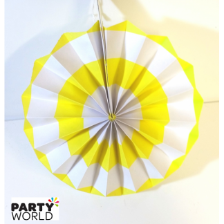 Yellow and White Paper Fan (8inch)