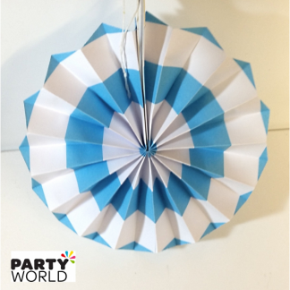 Light Blue and White Paper Fan (8inch)
