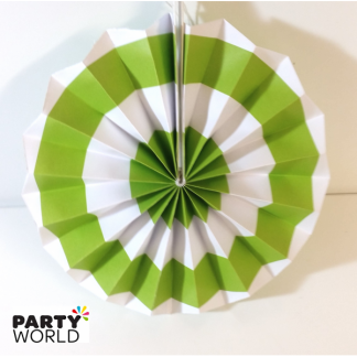 Lime Green and White Paper Fan (8inch)
