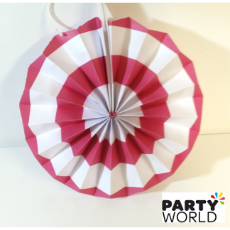 Hot Pink and White Paper Fan (8inch)