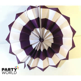 Purple and White Paper Fan (8inch)