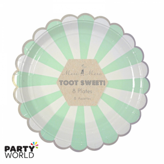 Meri Meri Toot Sweet Mint and White Stripe Dinner Plates (8pk)