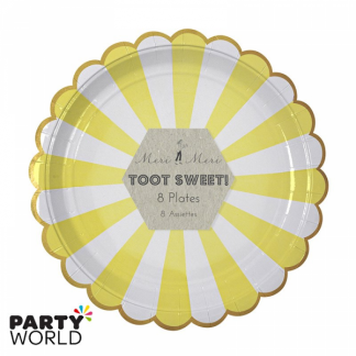Meri Meri Toot Sweet Yellow Stripe Dinner Plates (8pk)