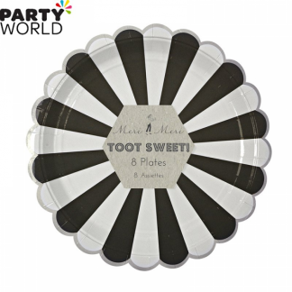 Meri Meri Toot Sweet Black and White Stripe Dinner Plates (8pk)
