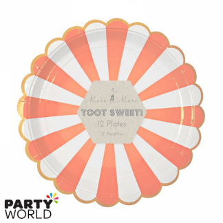 Meri Meri Toot Sweet Orange and White Stripe Dinner Plates (8pk)