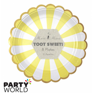 Meri Meri Toot Sweet Yellow and White Stripe Side Plates (8pk)