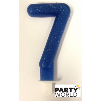 Number 7 Candle - Blue Glitter