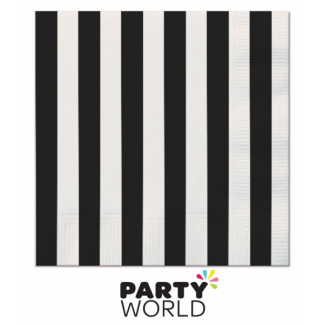 Stripe Luncheon Napkins - Black (16pk)
