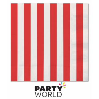 Stripe Luncheon Napkins - Red (16pk)