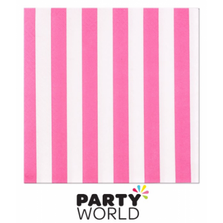 Stripe Luncheon Napkins - Hot Pink (16pk)