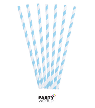 baby blue striped straws