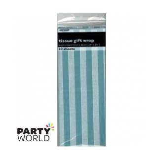 Tissue Stripes Gift Wrap - Caribbean Teal (10 Sheets)