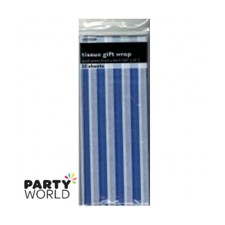 Tissue Stripes Gift Wrap - Royal Blue (10 Sheets)