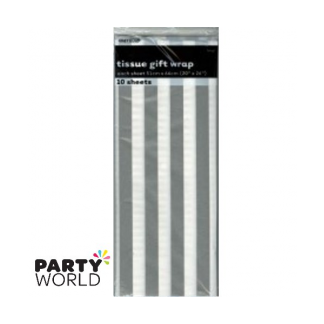 Tissue Stripes Gift Wrap - Silver (10 Sheets)