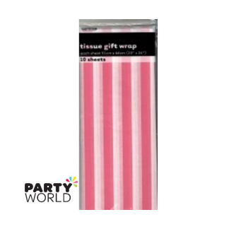 Tissue Stripes Gift Wrap - Hot Pink (10 Sheets)