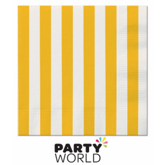Stripe Beverage Napkins - Yellow (16pk)