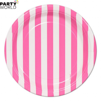 Stripe Paper Plates - Hot Pink 7inch (8pk)