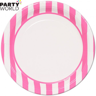 Stripe Paper Plates - Hot Pink 9inch (8pk)