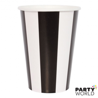Stripe Paper Cups - Black (6pk)