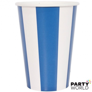 Stripe Paper Cups - Royal Blue (6pk)