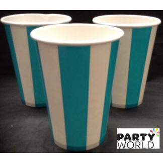 Stripe Paper Cups - Carribbean Teal (6pk)