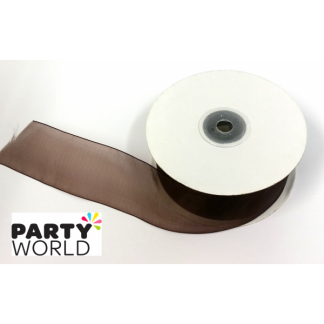 Edged Organza Ribbon - Chocolate 38mmx50m