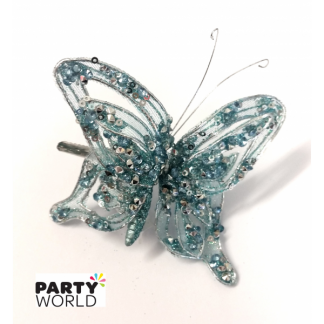 Metallic Blue and Silver Glitter Butterfly Clip