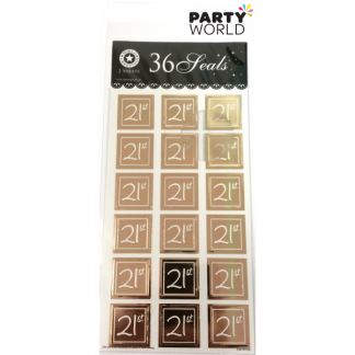 Gold 21st Sticker Seals (36pk)