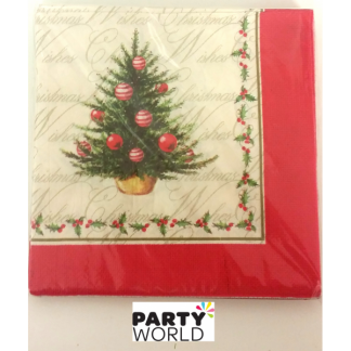 Christmas Tree Holly Luncheon Napkins (20pk)