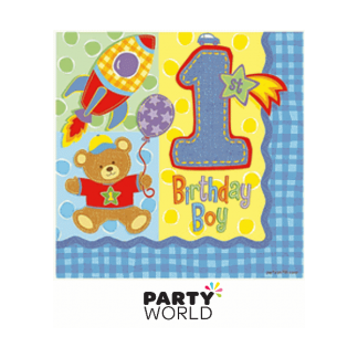Hugs & Stitches Boy 1st Birthday Luncheon Napkins (16pk)