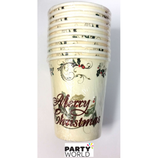 Merry Christmas Holly Paper Cups (10pk)